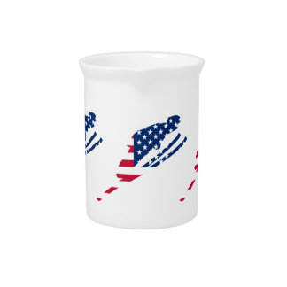 USA Flag of America Skiing American Pitcher