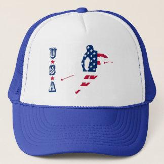 USA Flag of America Skiing American Trucker Hat
