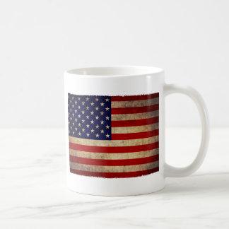 USA Flag old cracked Basic White Mug