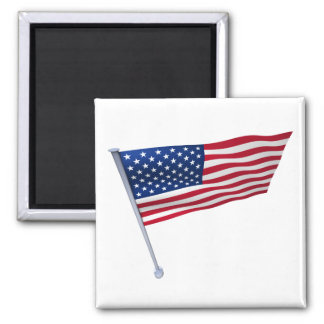 USA flag on a pole Square Magnet