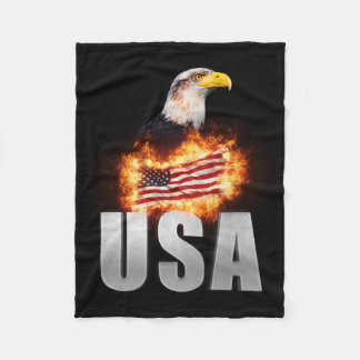 USA Flag on fire with Bald Eagle 4th of July Fleece Blanket