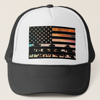 USA Flag Palm Tree Sunset Hat