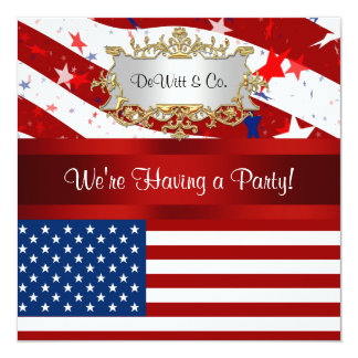 USA Flag Party Invitation Red White Blue