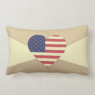 USA Flag Patriotic Heart Vintage Retro Style Cream Lumbar Cushion