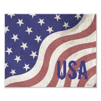 USA flag patriotic rustic weathered monogram Photographic Print
