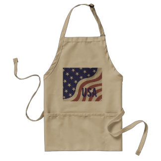 USA flag patriotic rustic weathered monogram Standard Apron
