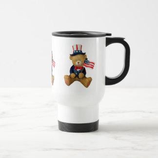 USA Flag Patriotic Teddy Bear Travel Mug