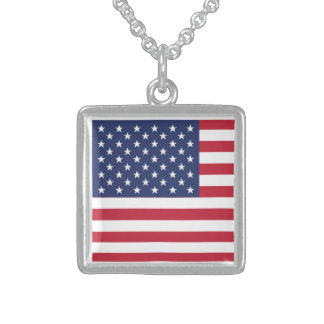 USA Flag Pattern Perfect Patriotic Gift American Necklace