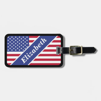 USA Flag Personalized Name Luggage Tag