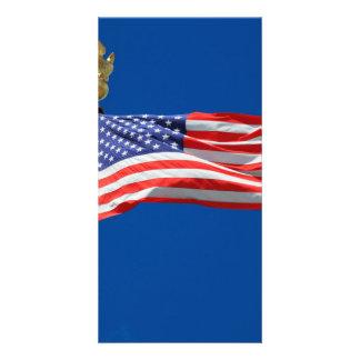USA flag Customized Photo Card