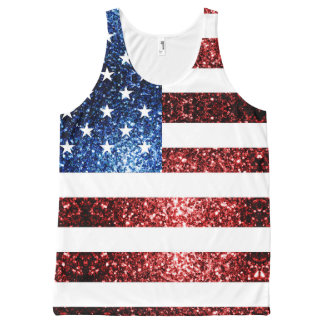USA flag red and blue sparkles glitters All-Over Print Tank Top