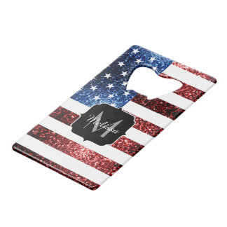 USA flag red and blue sparkles glitters Monogram