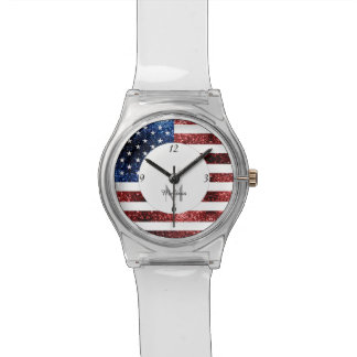 USA flag red and blue sparkles glitters Monogram Watch