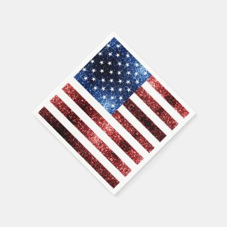 USA flag red and blue sparkles glitters Paper Napkins