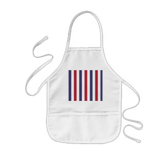 USA Flag Red and Flag Blue Wide Stripes on White Kids Apron