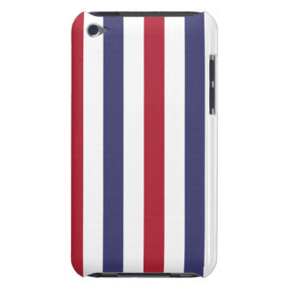 USA Flag Red and Flag Blue Wide Stripes on White Barely There iPod Cases