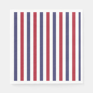 USA Flag Red and Flag Blue Wide Stripes on White Disposable Serviettes