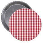 USA Flag Red and White Gingham Checked 10 Cm Round Badge