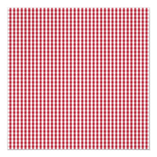 USA Flag Red and White Gingham Checked 13 Cm X 13 Cm Square Invitation Card