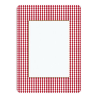 USA Flag Red and White Gingham Checked 14 Cm X 19 Cm Invitation Card