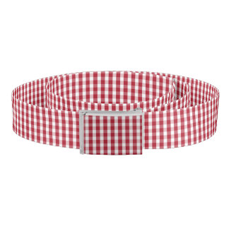 USA Flag Red and White Gingham Checked Belt