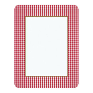 USA Flag Red and White Gingham Checked 11 Cm X 14 Cm Invitation Card