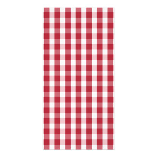 USA Flag Red and White Gingham Checked Personalised Photo Card