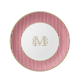 USA Flag Red and White Stripes Porcelain Plate