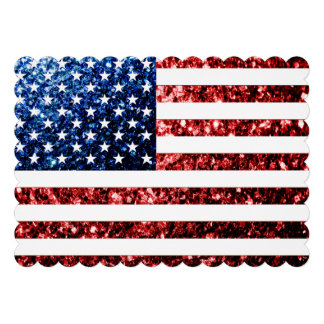 USA flag red blue sparkles 4th of July invite