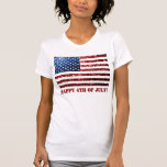 USA flag red & blue sparkles glitters 4th of July Tshirt