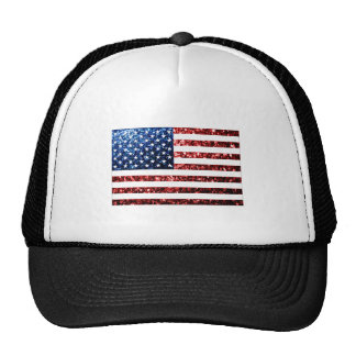 USA flag red & blue sparkles glitters Cap