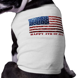 USA flag red blue sparkles glitters Happy 4th July Sleeveless Dog Shirt