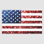 USA flag red & blue sparkles glitters Rectangular Sticker