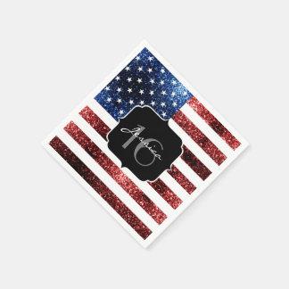 USA flag red blue sparkles glitters Sweet 16 Paper Napkin