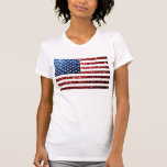 USA flag red & blue sparkles glitters T-Shirt