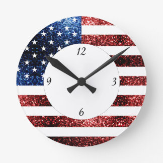 USA flag red blue sparkles glitters with numbers Round Clock