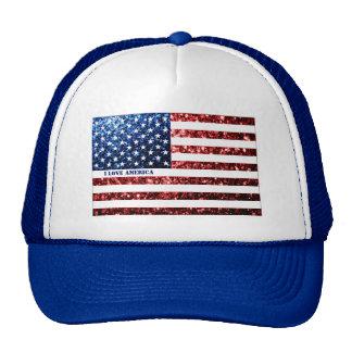USA flag red & blue sparkles I LOVE AMERICA Cap