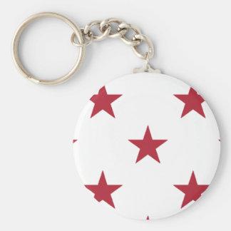 USA Flag Red Stars on White Throw Pillows Basic Round Button Key Ring