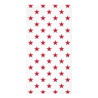 USA Flag Red Stars on White Throw Pillows Personalised Photo Card