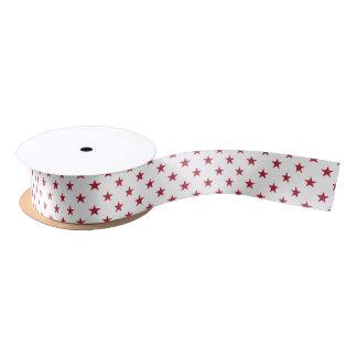 USA Flag Red Stars on White Throw Pillows Satin Ribbon