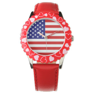 usa flag red white and blue + red band watch