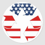 USA Flag - Red White & Blue Recycle Symbol Round Sticker