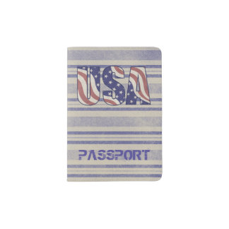 USA flag rustic denim travel monogram Passport Holder