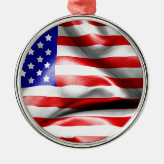 USA Flag Silver-Colored Round Decoration