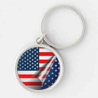 USA Flag Silver-Colored Round Key Ring