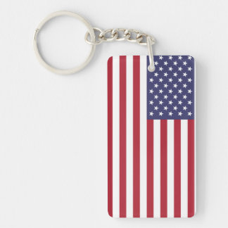 USA FLAG Single-Sided RECTANGULAR ACRYLIC KEY RING