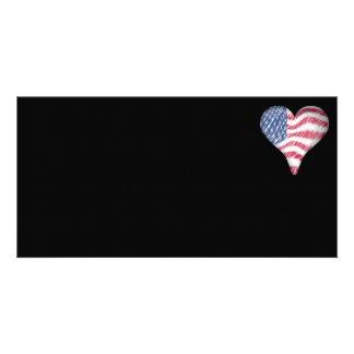 USA Flag Sketch Painting Blur Custom Photo Card