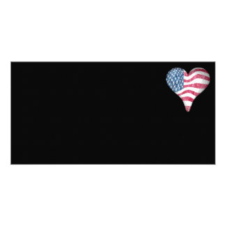 USA Flag Sketch Painting Personalized Photo Card