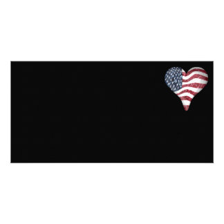 USA Flag Sketch Painting Customized Photo Card