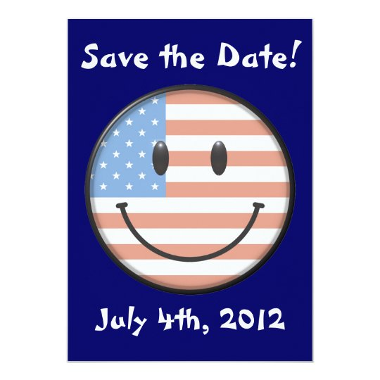 USA Flag Smiley Face Invitations